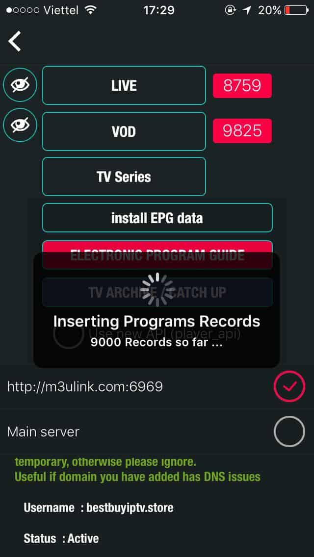 Loading-channel GSE IPTV for IOS and Apple TV